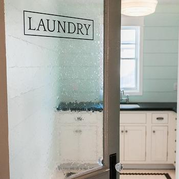 Laundry Room With Seeded Glass Door