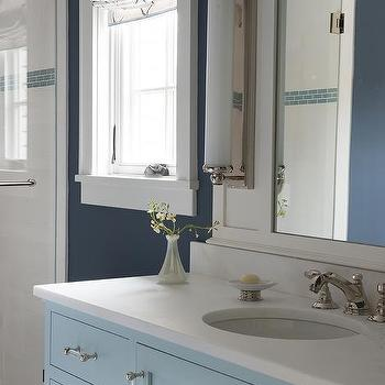 White Kid Bathroom With Navy Blue Glossy Ceiling Contemporary Bathroom
