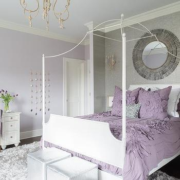 Attirant Purple And Gray Teen Girl Bedroom With White Canopy Bed