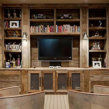 Rustic TV Room With Aviator Chairs