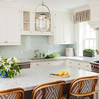 Blue Bar Cabinets With Frosted Glass Doors Transitional Kitchen