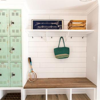 Cabinets over mudroom bench design ideas