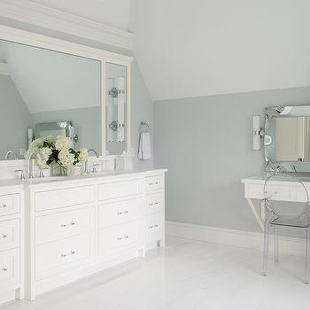 Ivory Master Bathroom With Robert Abbey Bling Chandelier