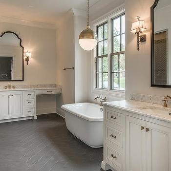 White Bathroom with Dark Gray Herringbone Tile Floor ...