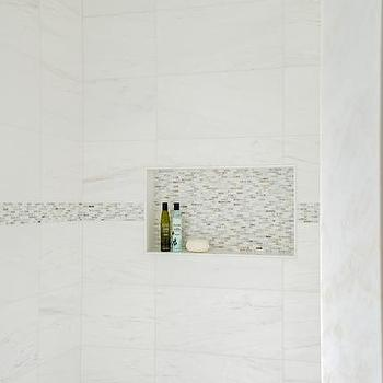 White marble Shower Tiles with Gray Mosaic Border Accent Tiles