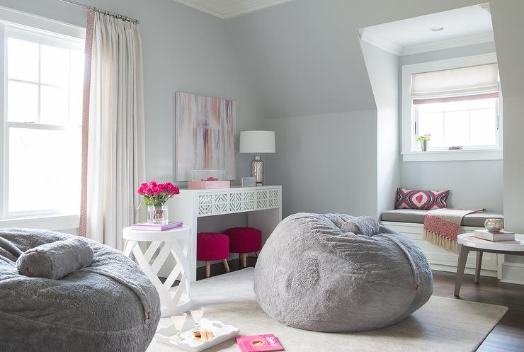 Pink and gray teen girl bedroom design contemporary for Pink teenage bedroom designs