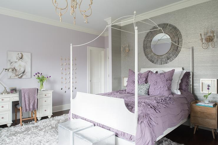 Purple and gray teen girl bedroom with white canopy bed contemporary girl 39 s room - Purple room for girls ...