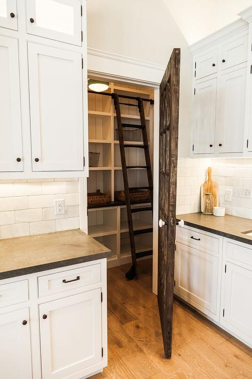 Reclaimed Barn Wood Pantry Door With Ladder Cottage