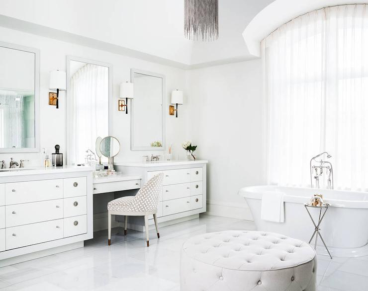 White Master Bathroom With Barrel Ceiling And Gray Metal