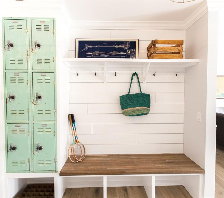 Vintage Mudroom With Mint Green Metal Locker Cabinets