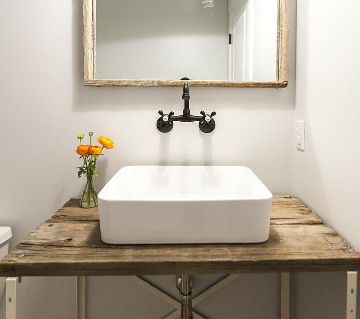 Barn Wood Powder Room Vanity With Vessel Sink Vintage Bathroom