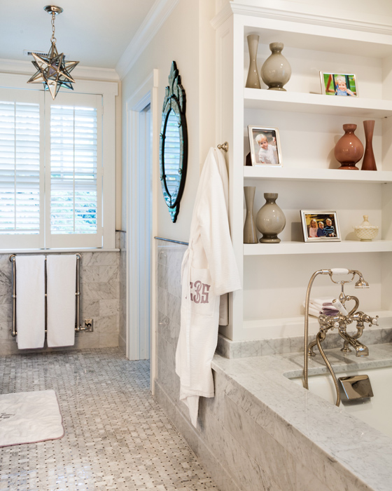 White and gray marble bathroom with mercury glass moravian star white and gray marble bathroom with mercury glass moravian star pendant aloadofball Choice Image