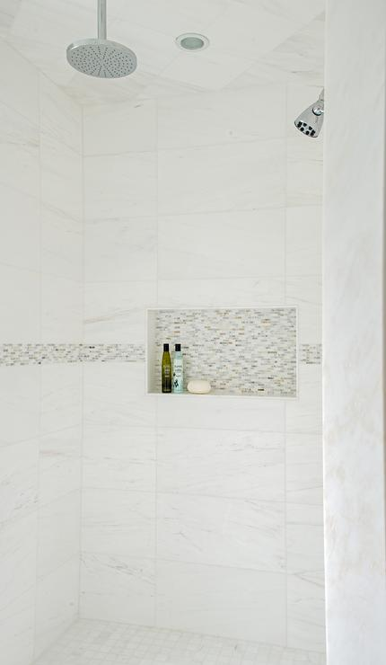 White Marble Tile Shower : White marble shower tiles with gray mosaic border accent