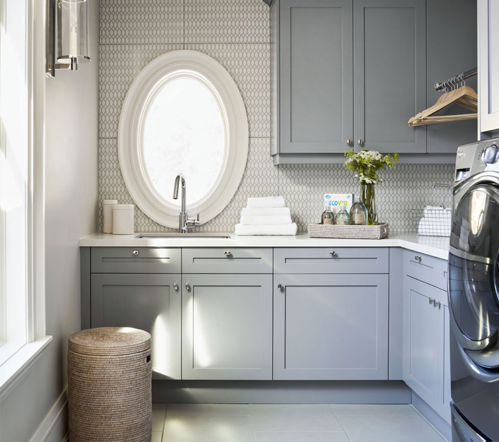 L Shaped Laundry Room With Gray Cabinets