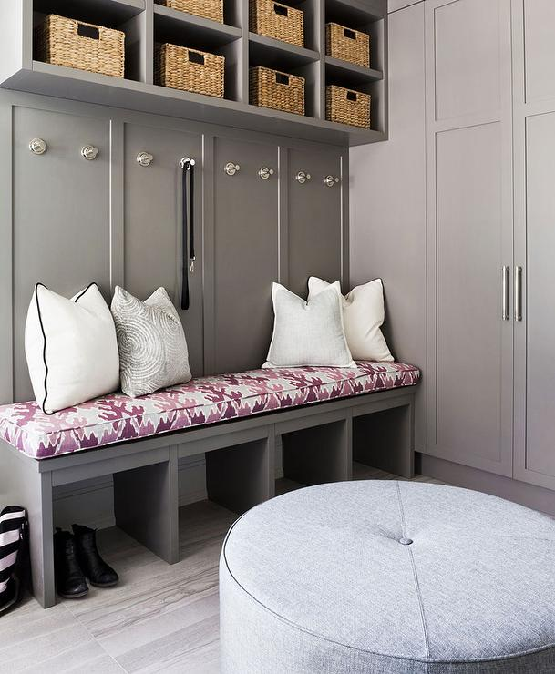 Mud Room Bench Ideas Part - 45: Gray Mudroom Locker Bench With Pink Cushion