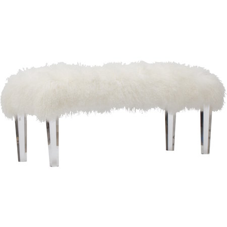 High Fashion Home Gigi Mongolian Fur Bench - Gigi Mongolian Fur Bench Look For Less
