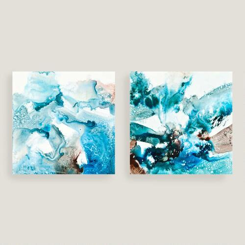 abstract blues canvas wall art