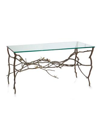 Aram Glass and Brass Butterfly Ginkgo Console Table