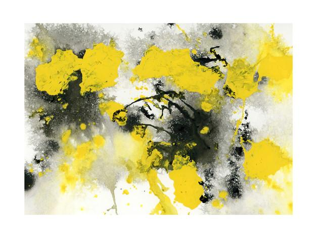 Yellow And Black Outburst Art By Michelle Waldie