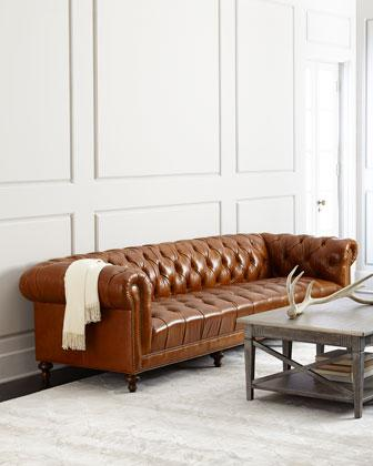 Captivating Massoud Davidson Brown Tufted Seat Chesterfield Sofa