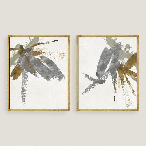 Silver and gold brushstroke canvas wall art for Silver wall art