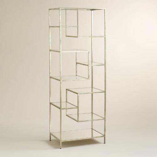 Silver Burnished Metal and Glass Asymmetrical Kali Shelf