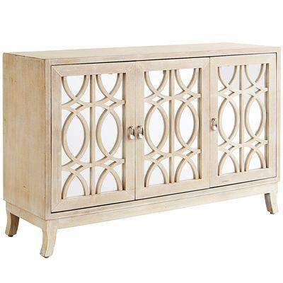 Natural Mirella Whitewash Tv Stand