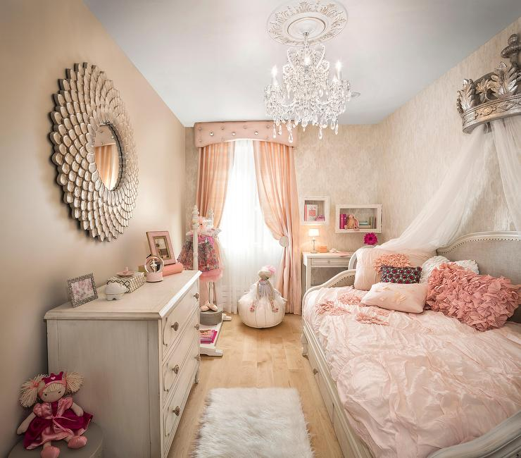 Pink And Gray French Nursery With Silver Crown Daybed Canopy