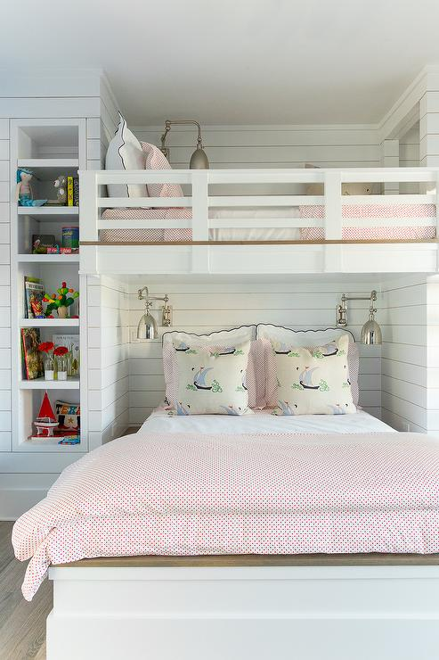 Shiplap Loft Bed With Swing Arm Sconces Cottage Girl S