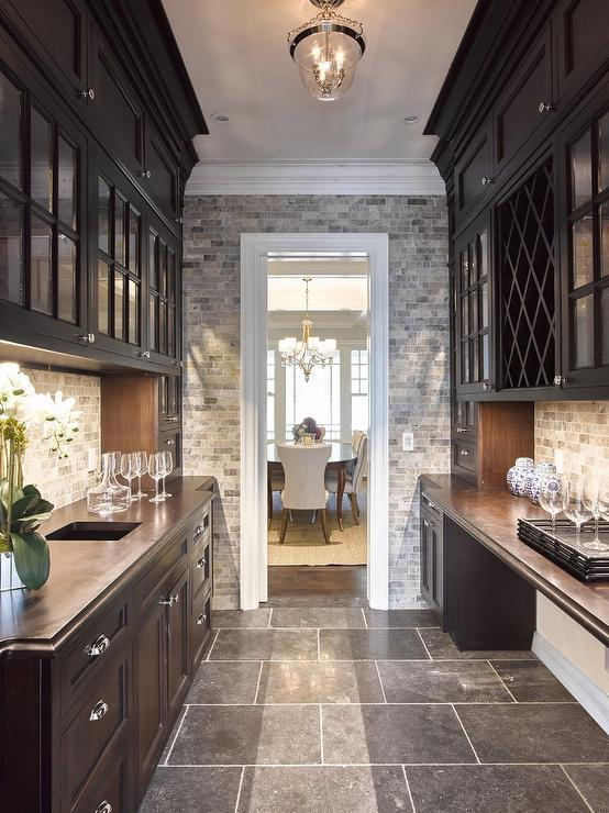 Black Butler Pantry With Zinc Countertops