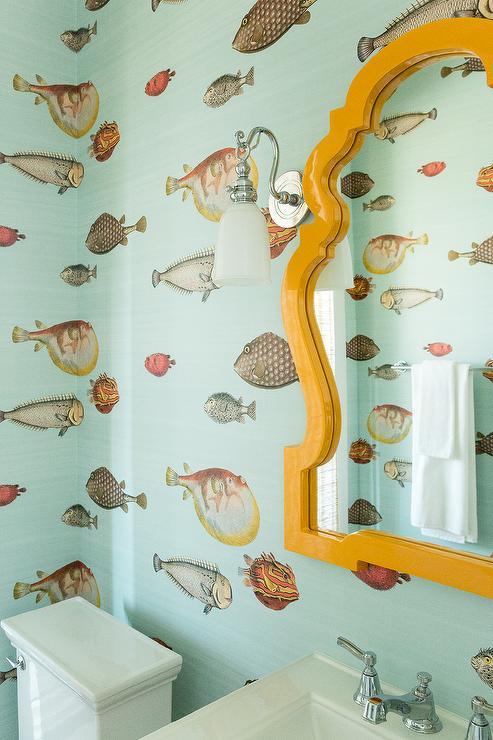 Blue Kids Bathroom With Fornasetti II Acquario Wallpaper