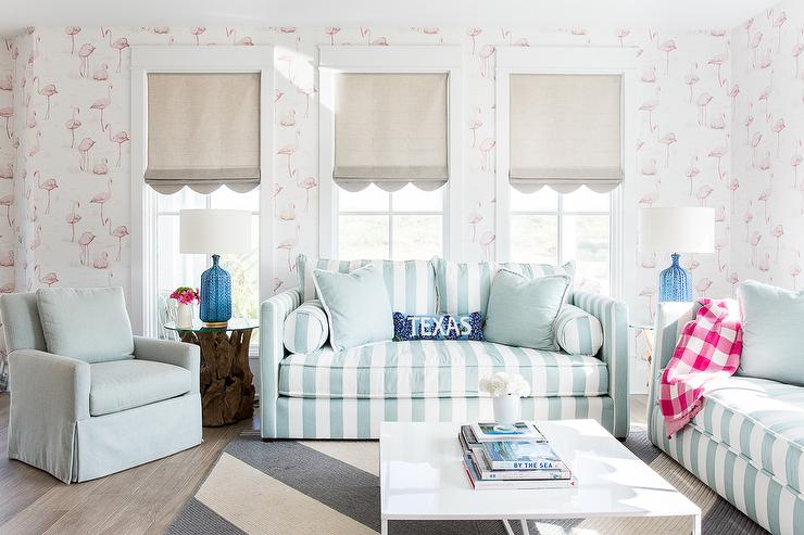 Turquoise Blue Striped Sofa with Pink Flamingos Wallpaper - Cottage ...