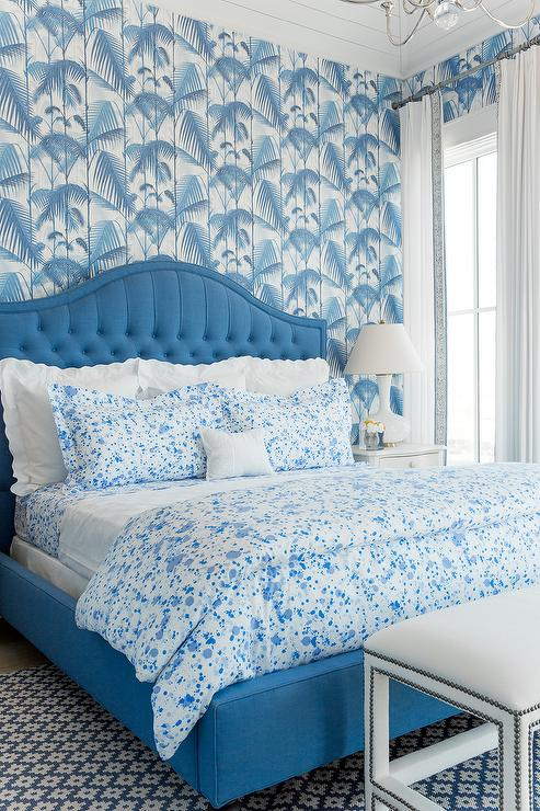 Blue paint splatter wallpaper design ideas for Blue and white bedroom wallpaper