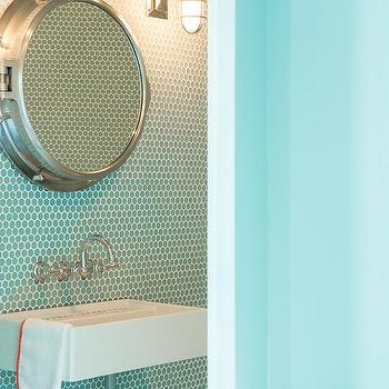 Blue Kids Bathroom With Turquoise Penny Tiles And Royal Naval Porthole  Mirrored Medicine Cabinet
