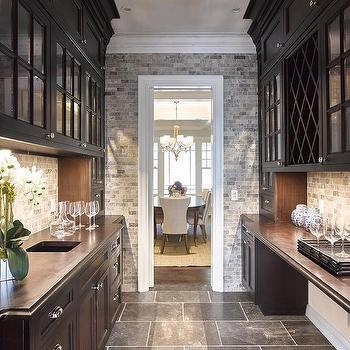 Long Butler's Pantry - Transitional - kitchen