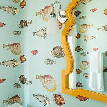 Blue Kids Bathroom With Fornasetti II Acquario Wallpaper