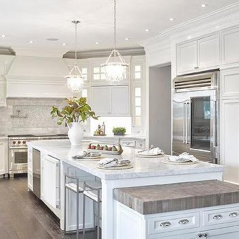 White Kitchen Island With Wood And Marble Countertops