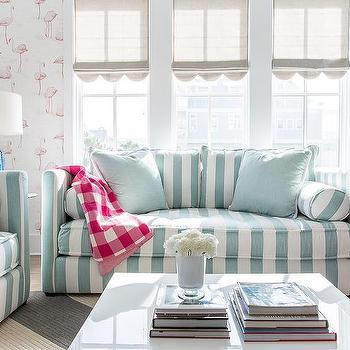 Turquoise Blue And Pink Living Room With Gray Scalloped Roman Shades