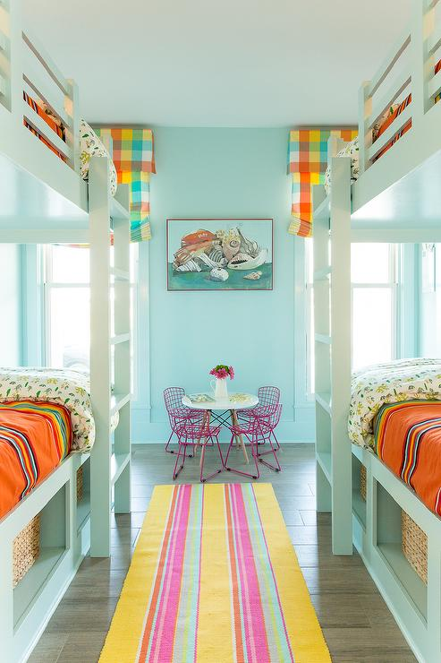 Turquoise Blue Bunk Room With Orange Serapa Blankets
