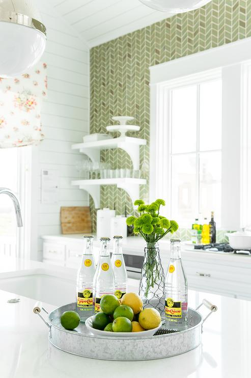 White and Green Kitchen with Green Herringbone Tiles ...