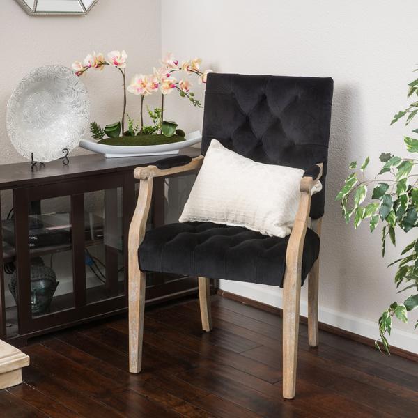Christopher Knight Home Saltillo Black Velvet Arm Dining Chair