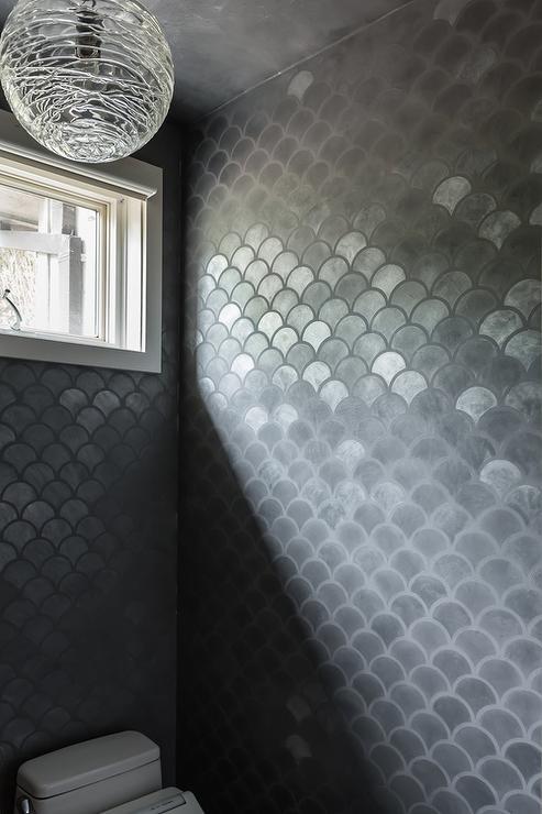 Gray Metallic Fish Scale Tiles With Juliska Amalia Globe Pendant