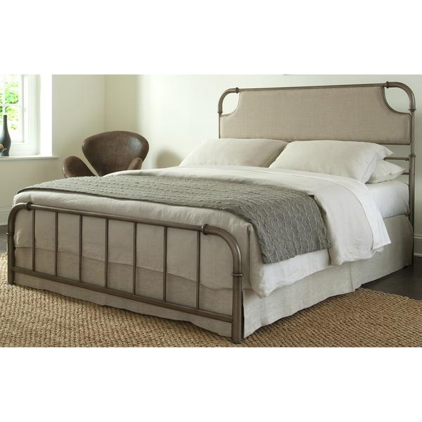 Dahlia Snap Bed With Beige Upholstered Headboard And Folding Metal Side  Rails