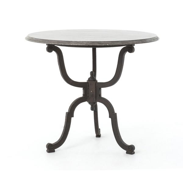 Attractive French Industrial Black Bistro Pedestal Table