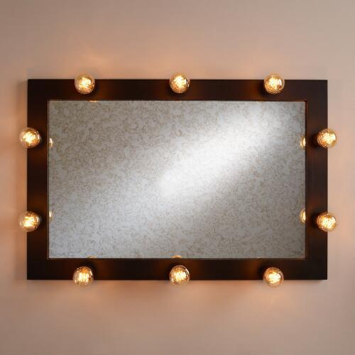 Aged Brass Illuminated Leaner Mirror