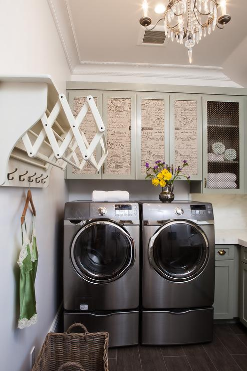 Gray French Laundry Room With Wall Mount Accordion Drying Rack