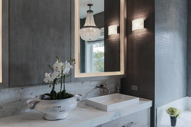 Gray Contemporary Bathroom With Faucet On Mosaic Marble Backsplash