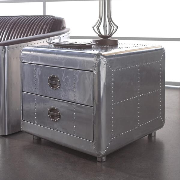 Lazzaro Leather Lindbergh Silver Bomber End Table