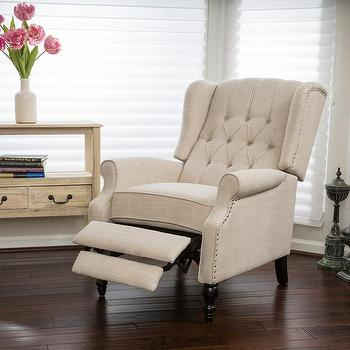 Christopher Knight Home Walter Light Beige Fabric Recliner Club Chair & Black Wingback Recliner Chair - Products bookmarks design ... islam-shia.org