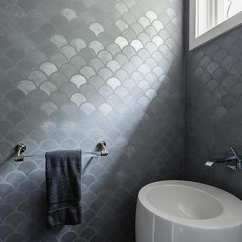 Gray Metallic Bathroom Tiles Design Ideas - Metallic bathroom tiles